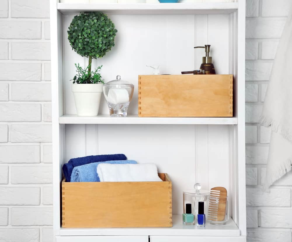 Create space with a two-tiered shelving unit