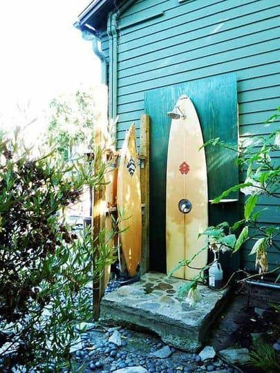 An Outdoor Shower Made of Surfboards