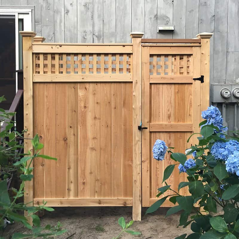 Cedar Lattice Wall Mount Outdoor Shower