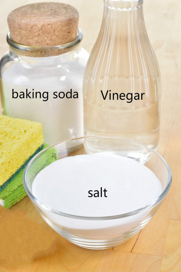 Vinegar, baking soda, and salt