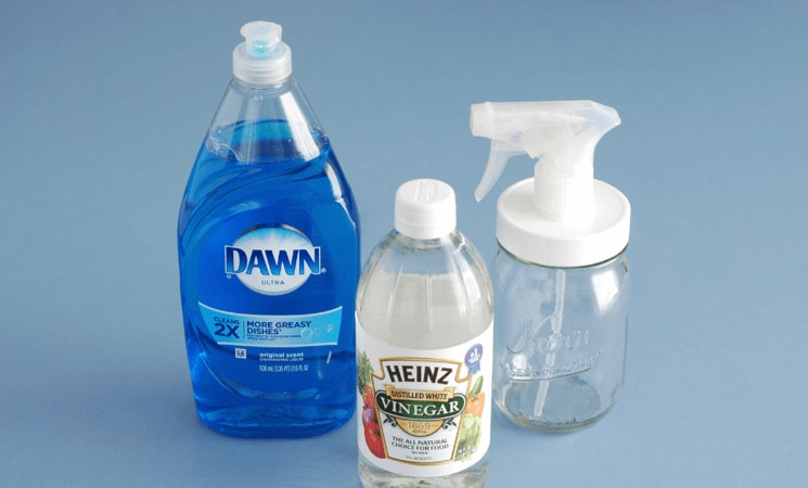 White vinegar and grease-fighting dish soap