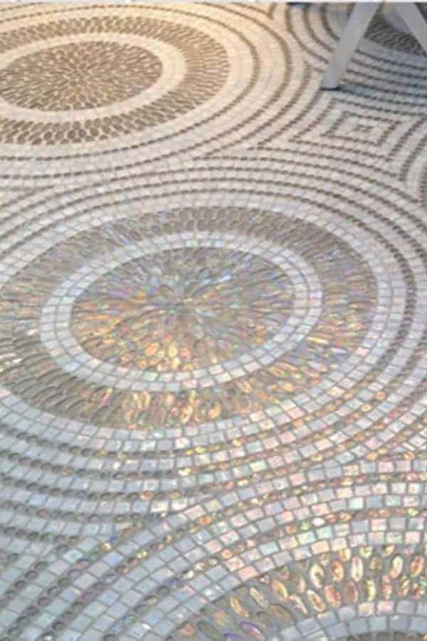 Mosaic glass tile kitchen flooring