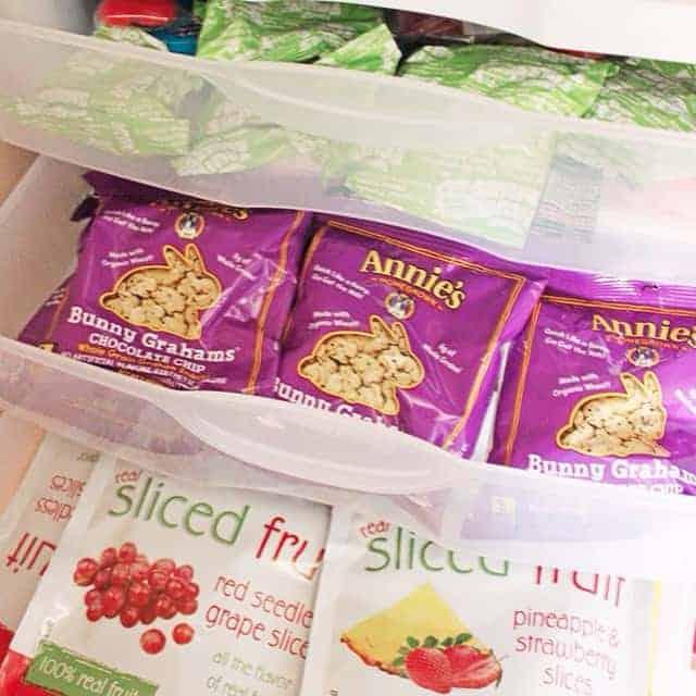 Store Similar Snacks in Plastic Bins