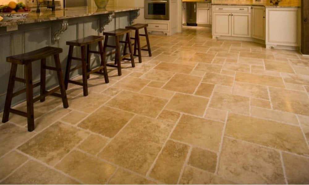 Travertine kitchen flooring