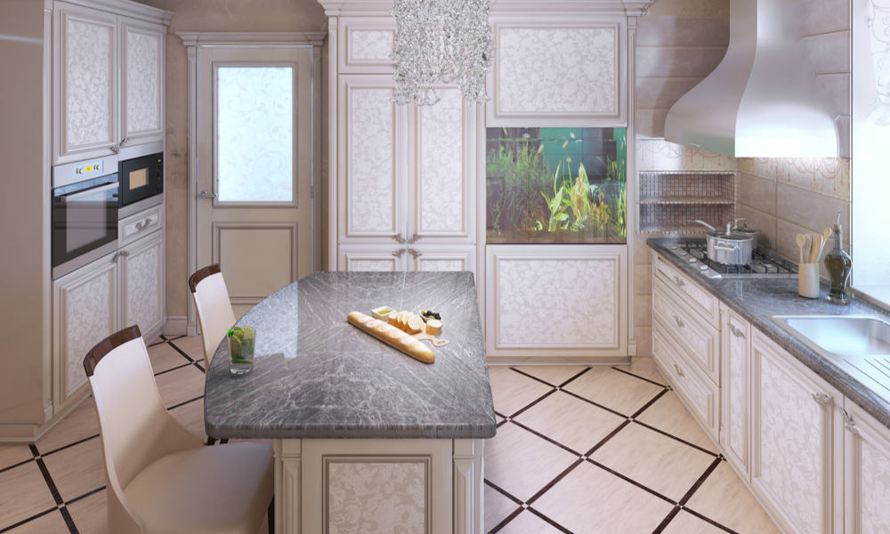 Art deco kitchen with a stone countertop