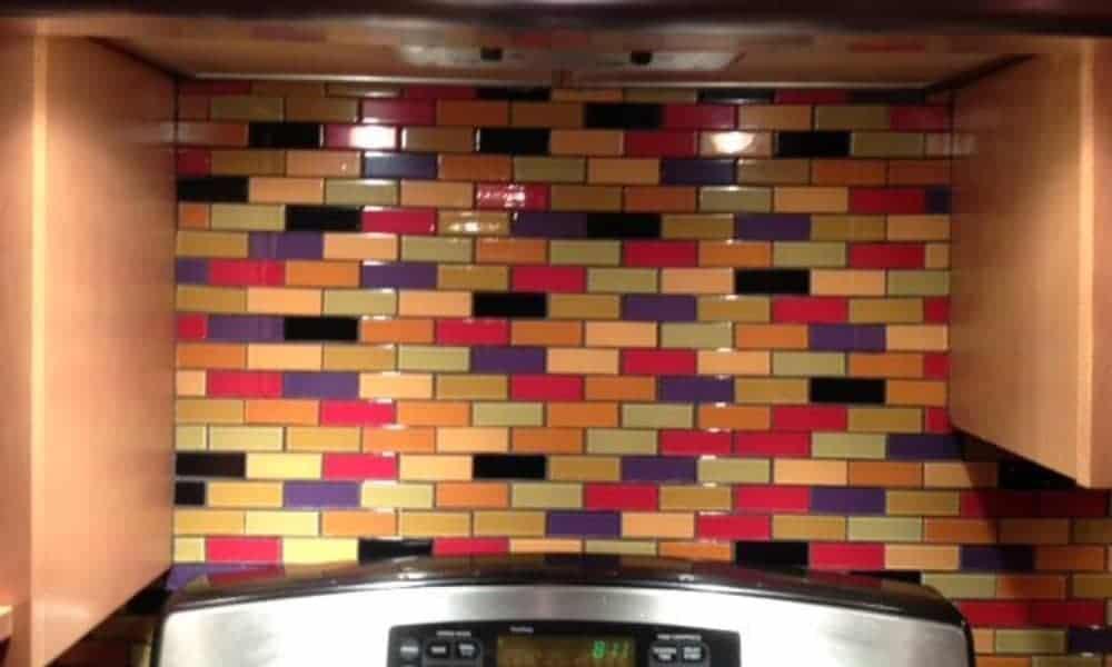 Brightly-colored subway backsplash tiles