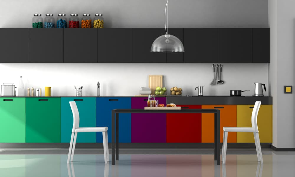 Color kitchen cabinet