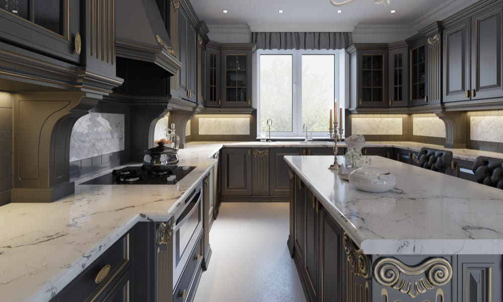 English classic kitchen with a marble countertop