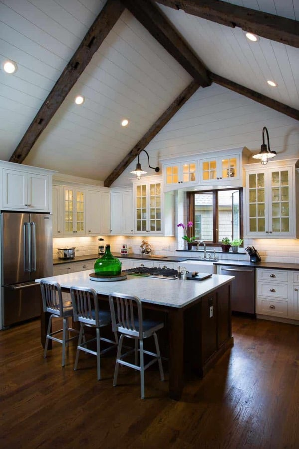 Exposed beams and lighting