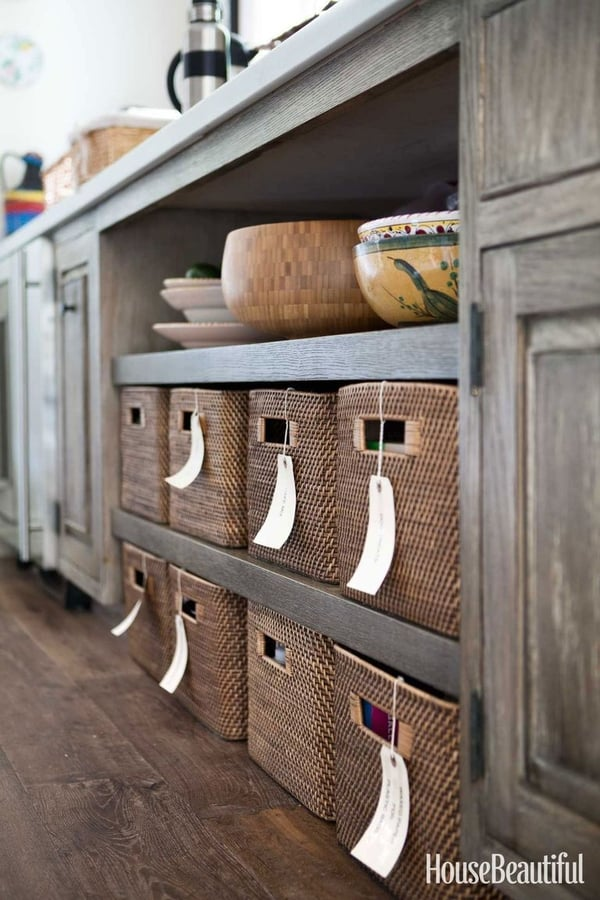 Fill up open shelves with baskets