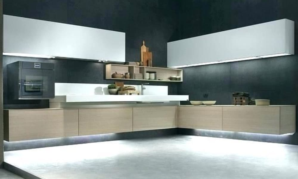 Floating kitchen cabinet