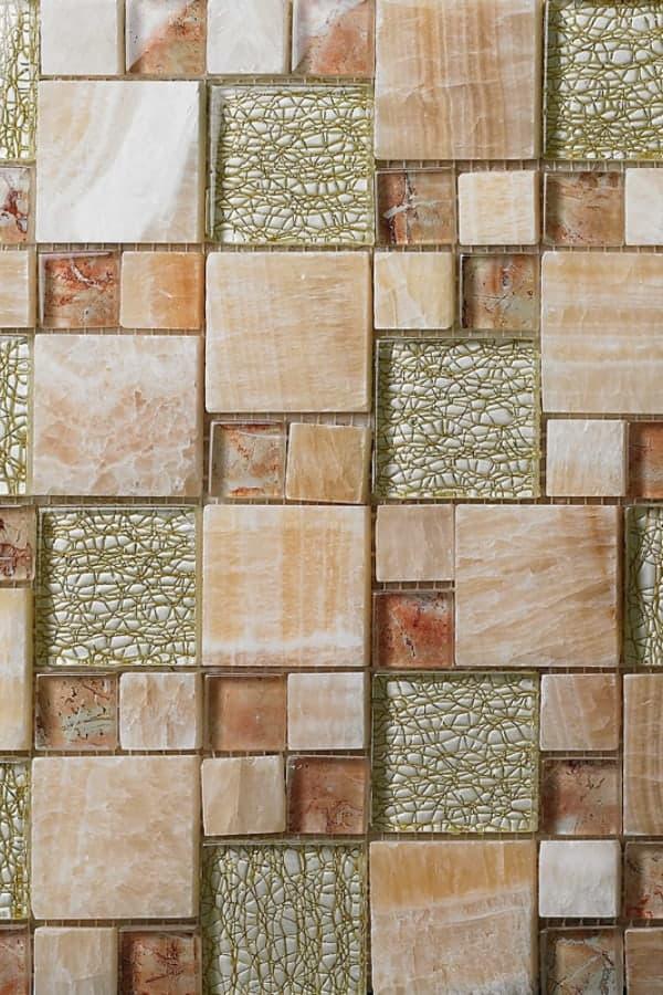 Glass mosaic and stone backsplash tiles