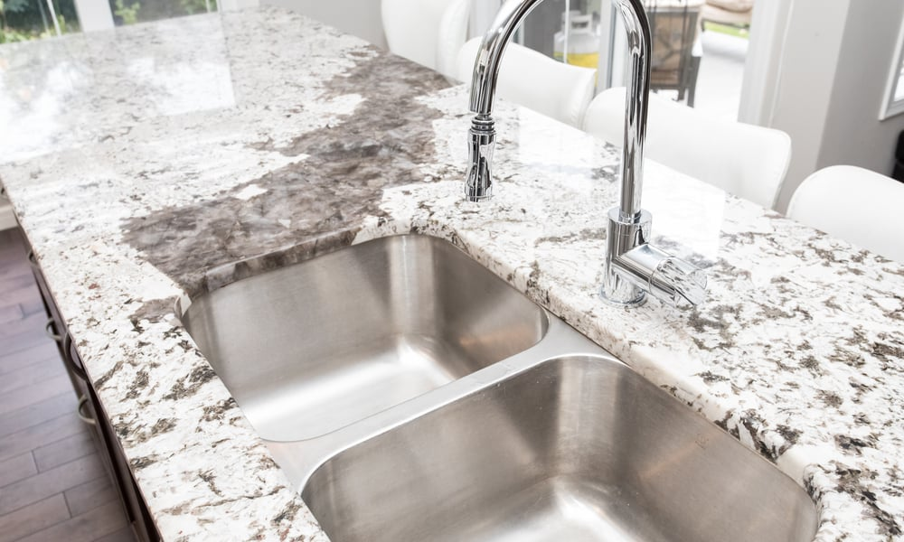 Granite countertop with a double sink