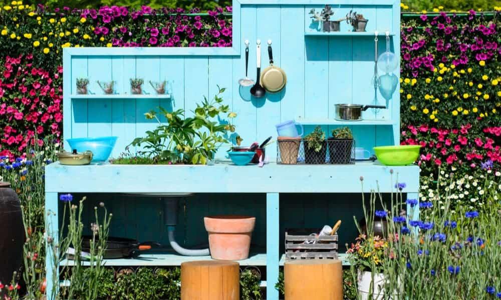 Greek blue outdoor kitchen in your yard