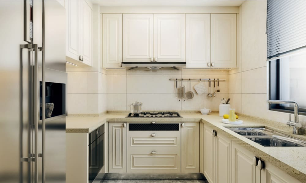 Grooved kitchen cabinet