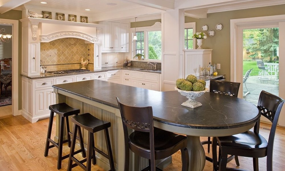 Kitchen island with a rounded end