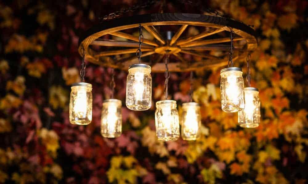 Mason jar kitchen chandelier