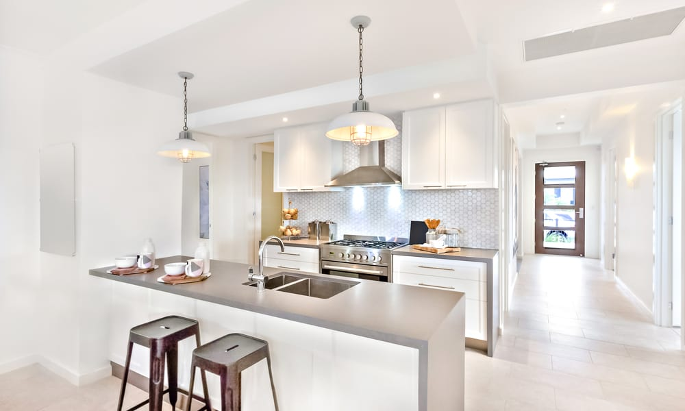 Modern silver white kitchen