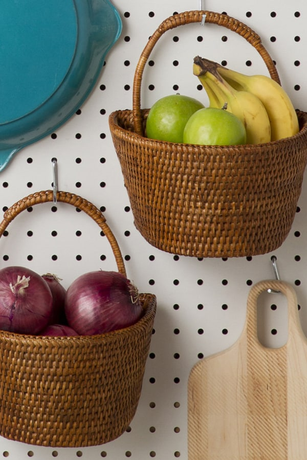 Old baskets as a place for storing