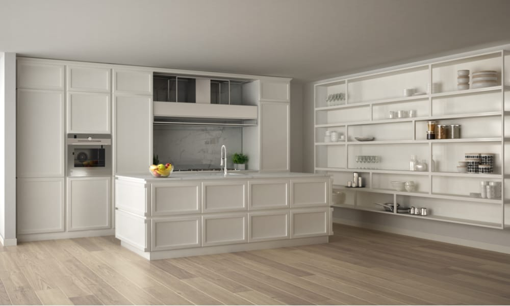 Open-shelving on the kitchen wall