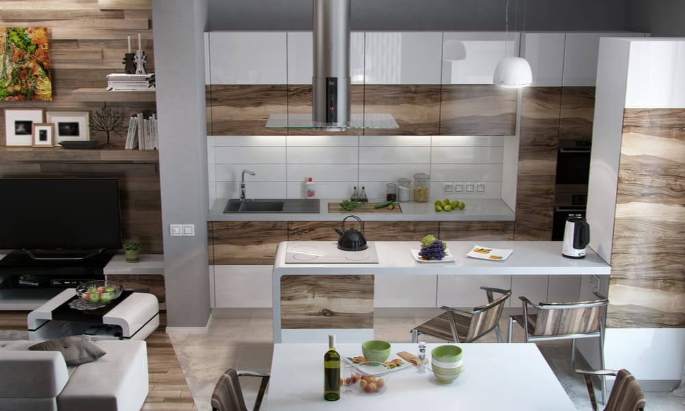 Open style kitchen with a white wooden countertop