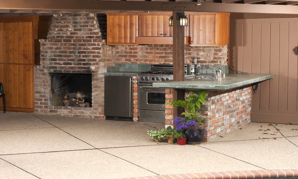 Outdoor kitchen with a bar