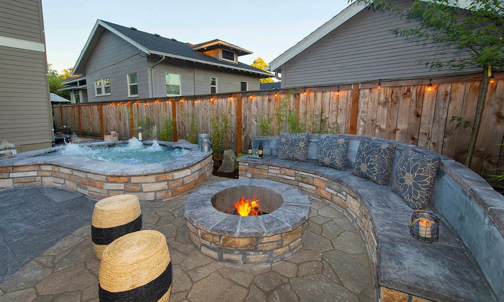Outdoor kitchen with a fire pit