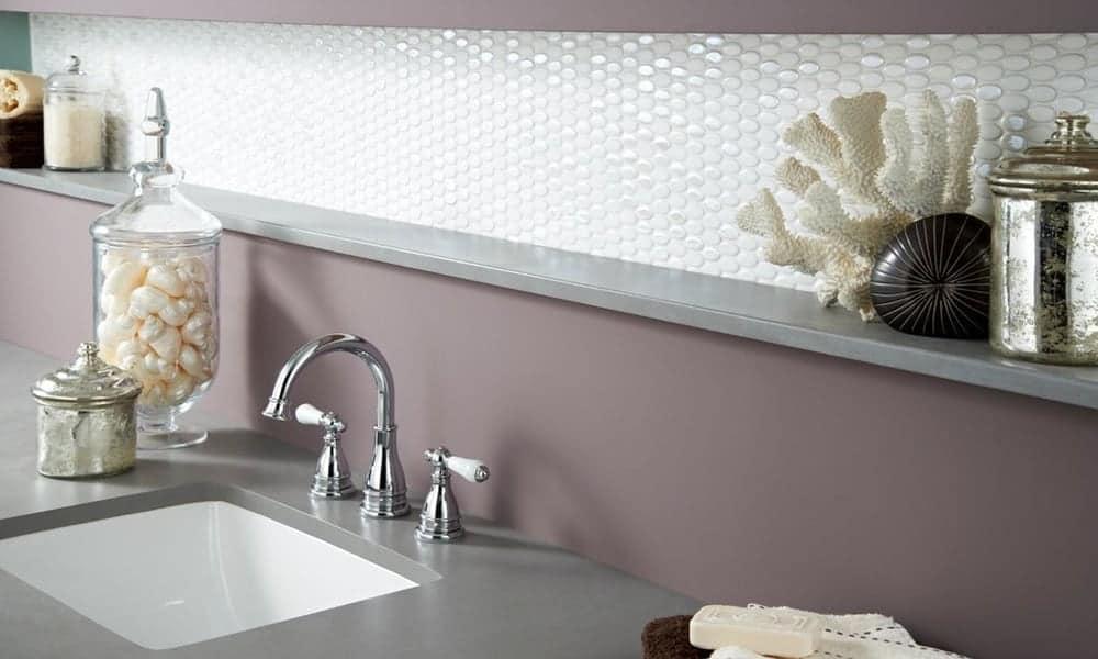 Oval ceramic backsplash white tiles