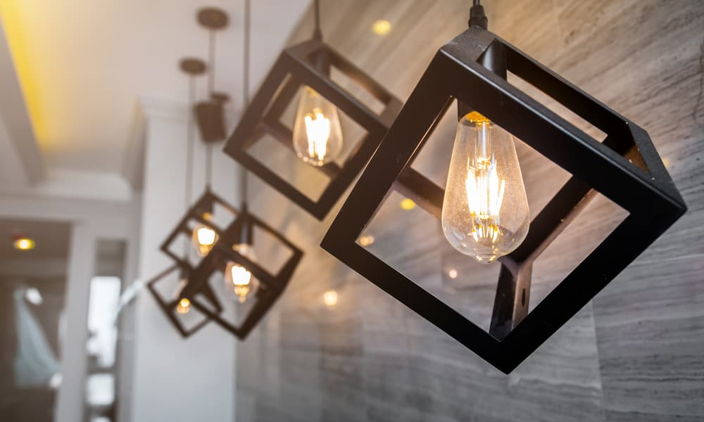 Pendant light for kitchen with a light bulb