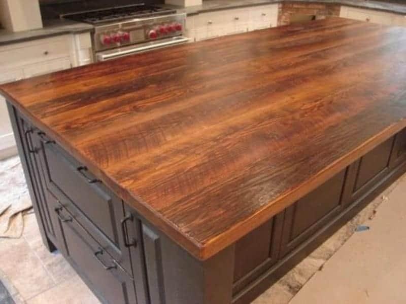 Reclaimed wood countertop material