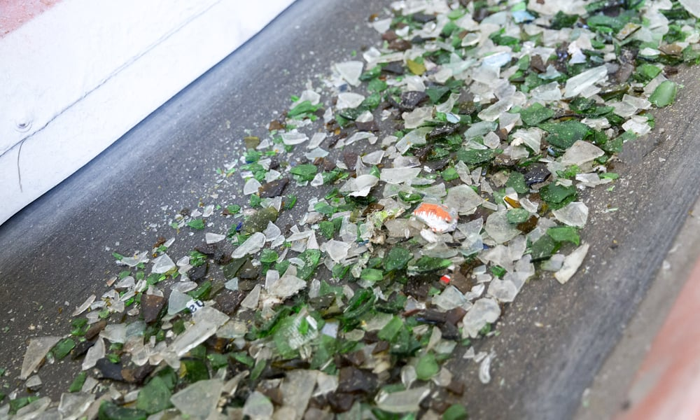 Recycled glass countertop material
