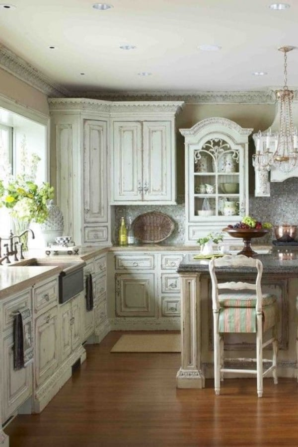 Shabby chic kitchen cabinet