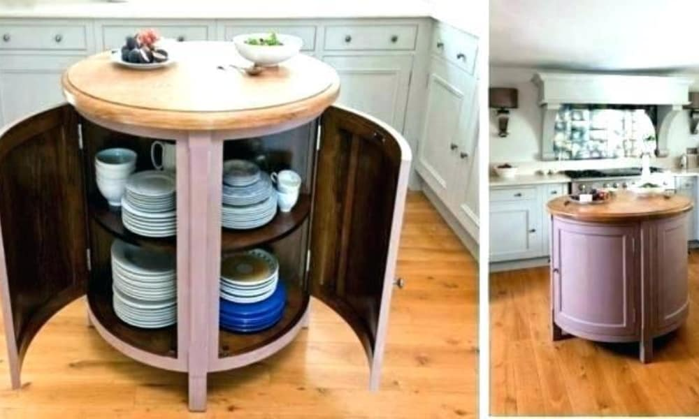 Small, circular, and movable kitchen island