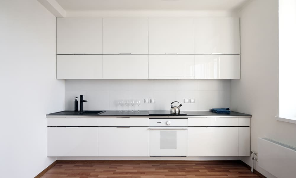 Small, wall to wall kitchen