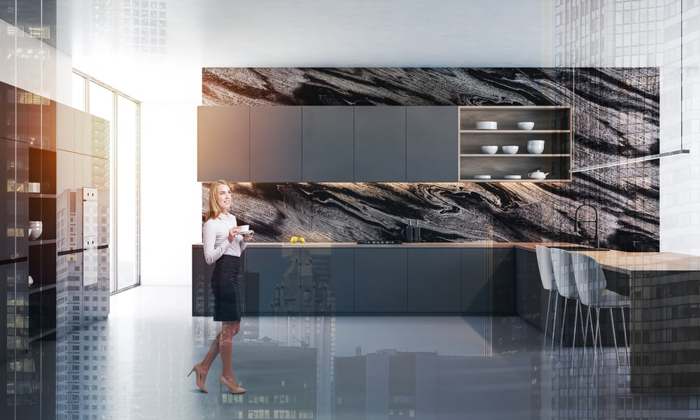 Stylish black kitchen with an expensive countertop