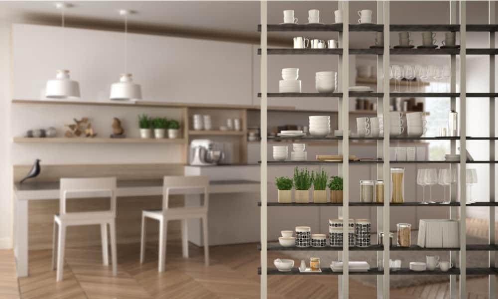 System of kitchen-living room shelving