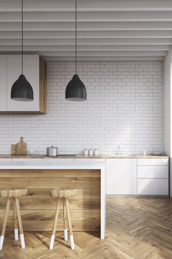 White kitchen with parquet floor