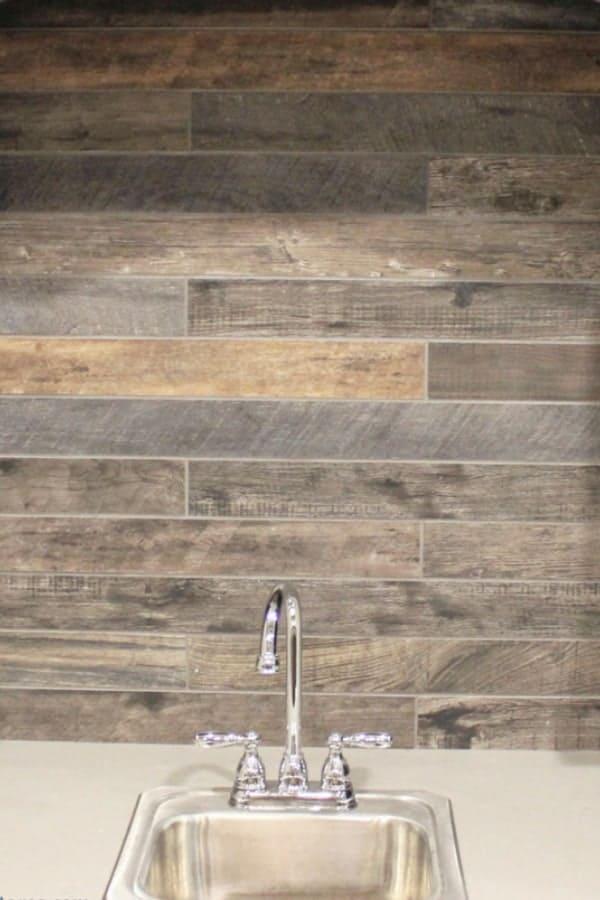 Wood-look backsplash tiles 1