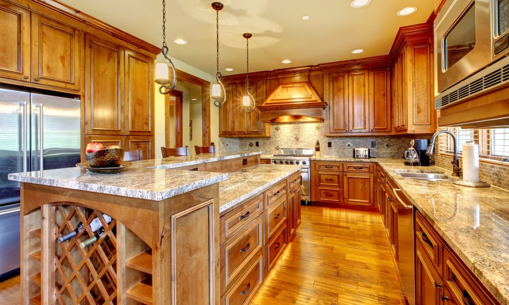 Wooden kitchen with a granite countertop