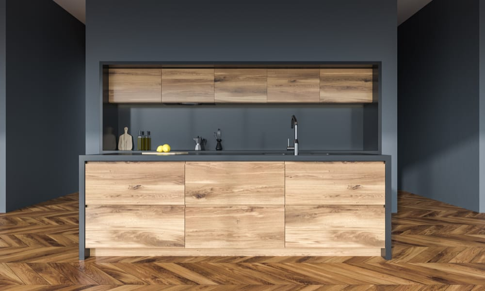 Wooden kitchen with a grey countertop