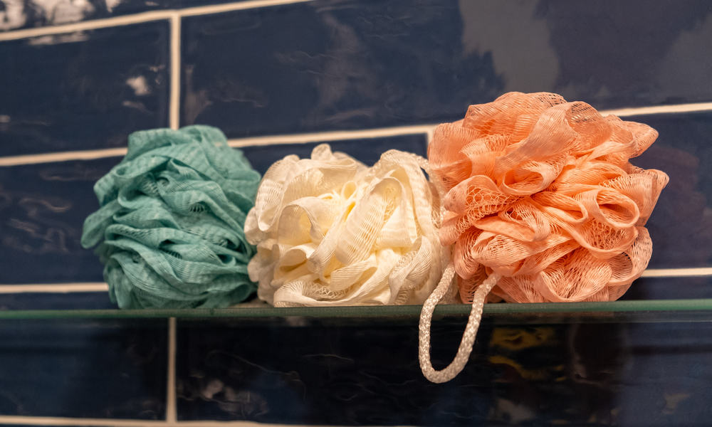 Glass Shelf for Colorful Bath Shower Sponges