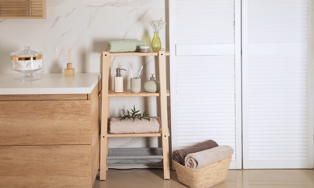 Shelving Unit With Toiletries