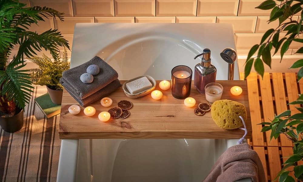 Spa Bathtub Wooden Table
