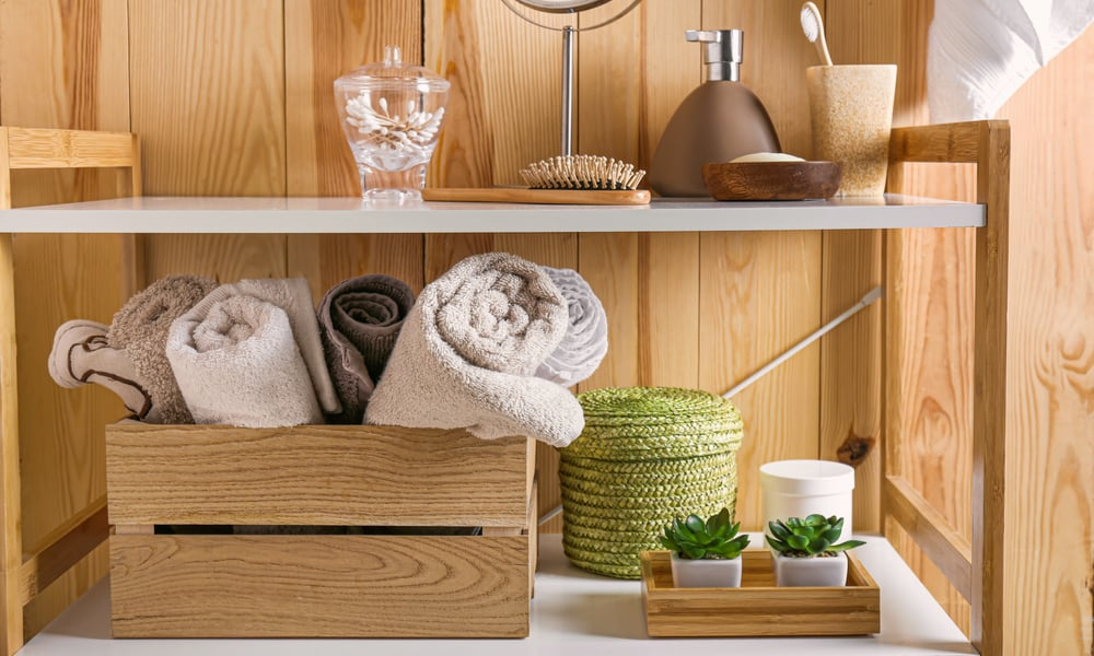 Wooden Shelves With a Crate