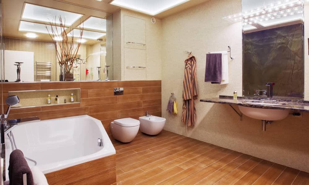 33 Wood Tile Bathroom Ideas - Wood Tile Shower Designs