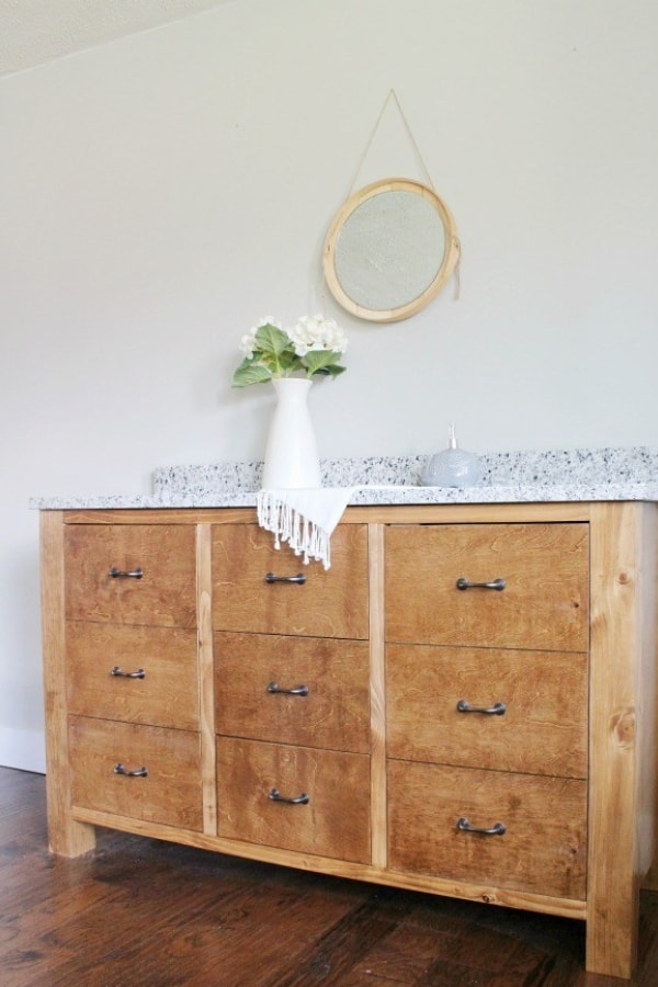 Faux Drawer DIY Double Bathroom Vanity – also by Shara