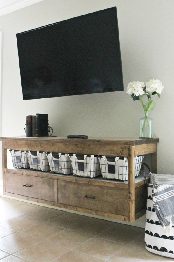 How to Build a DIY Modern Floating Vanity or TV Console – by Shara 1