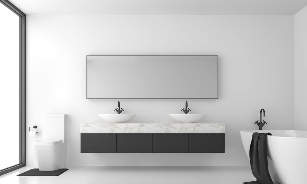 Shared Mirror Separate Sinks