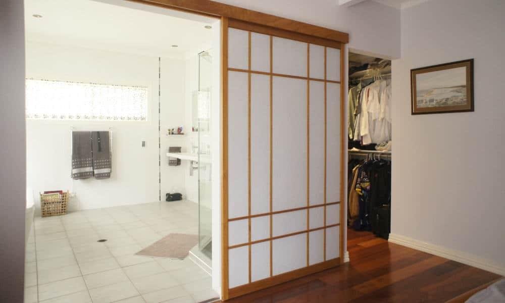 Shoji screen bathroom doors