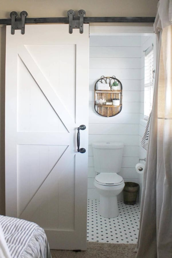 Sliding barn bathroom doors